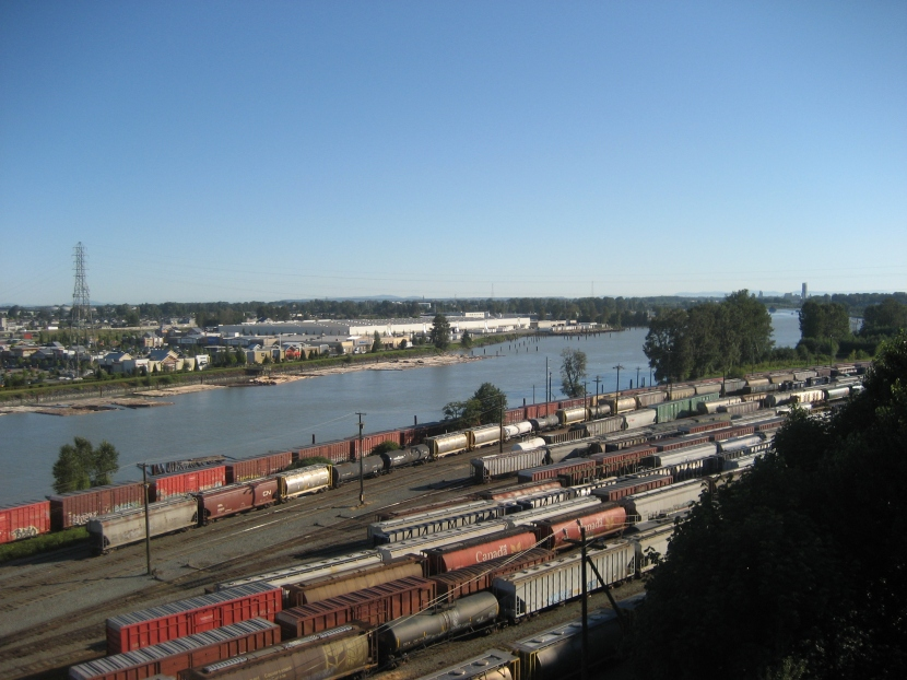 Looking west down the North Arm of the Fraser River from the Queensborough Bridge in New Westminister.(Photo by A. Longhurst)