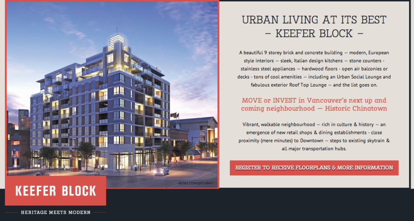 Screenshot of the Keefer Block condo development (www.keeferblock.com).