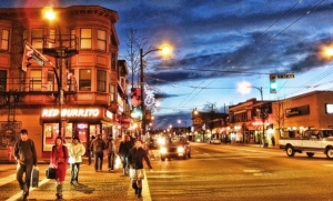 Commercial Drive at E 1st Avenue in the Grandview-Woodland neighbourhood. Photo courtesy dailyxy.com.